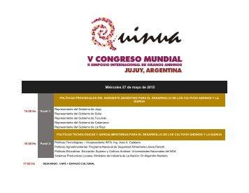 PROGRAMA GENERAL DEL V CONGRESO MUNDIAL DE LA QUINUA Y 2do SIMPOSIO INTERNACIONAL DE GRANOS ANDINOS