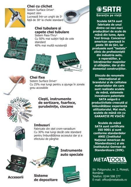 Broșură scule de mână SATA Tools