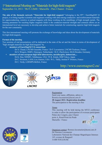 "1st International Meeting on ""Materials for high-field magnets"" http ..."