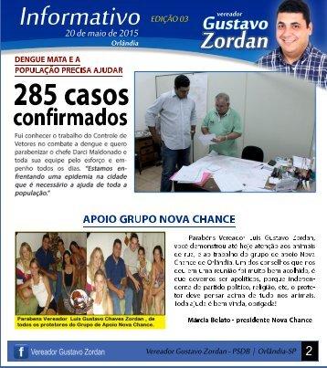 Informativo Vereador Gustavo Zordan Orlândia - 20 de maio de 2015