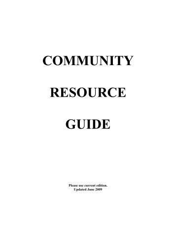 COMMUNITY RESOURCE GUIDE - Kitsap Community Resources