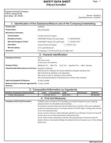 Ethynyl Estradiol SAFETY DATA SHEET 1. Identification of the ...