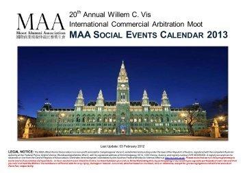 2013 Vienna Social Events Calendar - the Moot Alumni Association