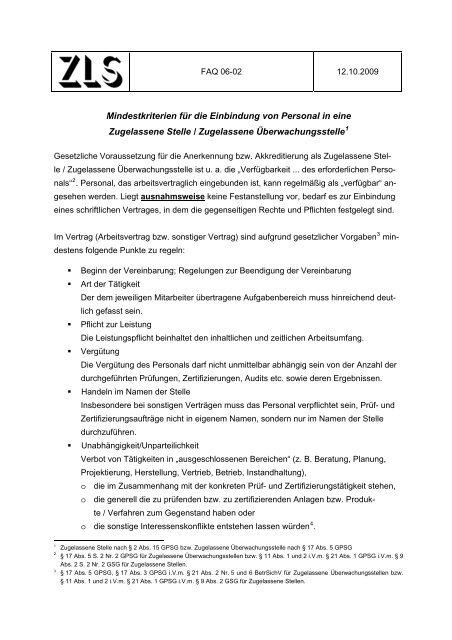Mindestkriterien für die Einbindung von Personal in eine ... - ZLS