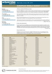EUROPEAN MIDDLE MARKET BRIEFING - Acquisitions Monthly