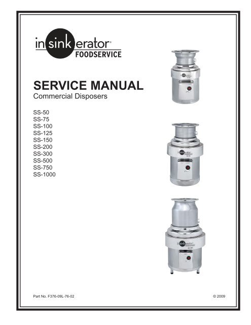 Service Manual for InSinkErator Commercial Disposers - The