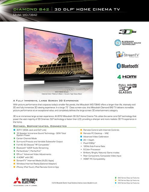 DIAMOND 842 I 3D DLP® HOME CINEMA TV - Mitsubishi Digital