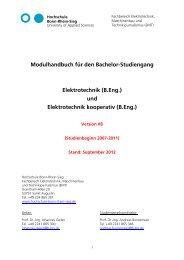 Modulhandbuch für den Bachelor-Studiengang Elektrotechnik (B.eng.)