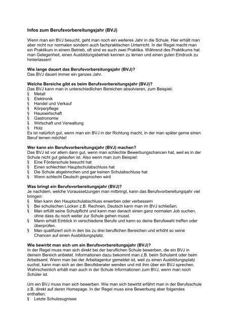 Infos Zum Berufsvorbereitungsjahr Bvj