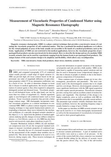 Measurement of Viscoelastic Properties of Condensed Matter using ...