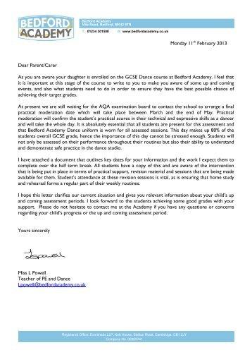 Yr11 Dance GCSE letter - Bedford Academy