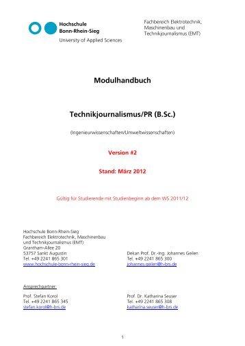 Modulhandbuch Technikjournalismus/Pr (B.sc.) - Fachbereich ...