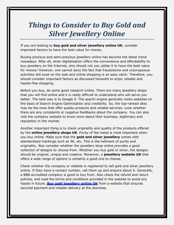 Things to Consider to Buy Gold and Silver Jewellery Online