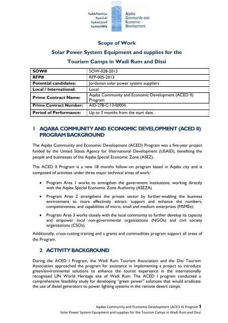 Procurement of Solar Systems for Wadi Rum     - Aced-jordan com