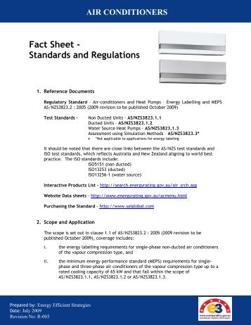Fact Sheet - Standards and Regulations - Energy Rating Website