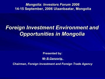 "THE REGIONAL SEMINAR ON ""MONGOLIAN BUSINESS AND INVESTMENT ..."