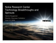 Nokia Research Center Technology Breakthroughs and ... - Spinverse