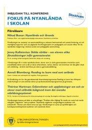 inbjudan - Pedagog Stockholm