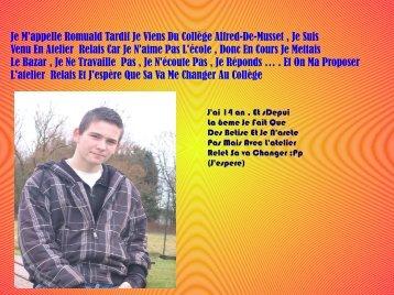Je M'appelle Romuald Tardif Je Viens Du Collège Alfred-De-Musset ...