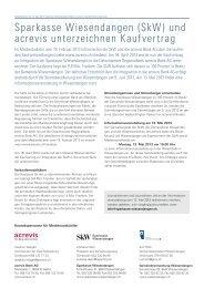 Sparkasse Wiesendangen (SkW) und acrevis unterzeichnen ...