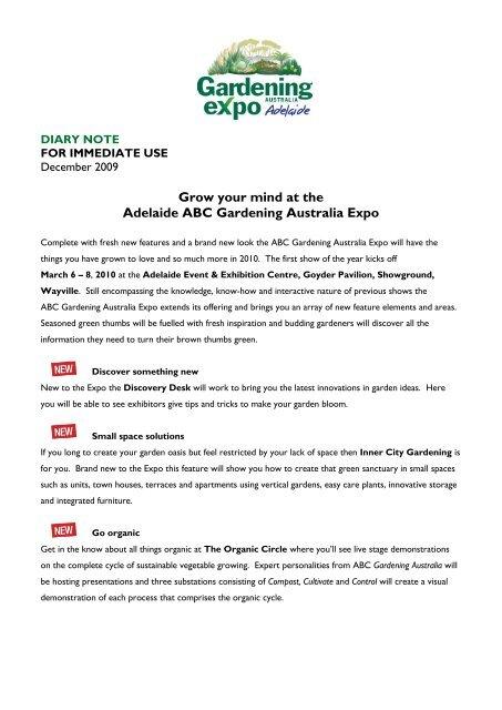Grow Your Mind At The Adelaide Abc Gardening Australia Expo