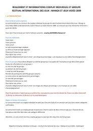 reglement et informations cosplay individuel et groupe festival ...