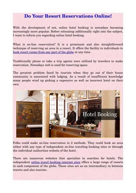 Do Your Resort Reservations Online