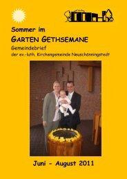 Sommer Juni - August 11 - Kirchengemeinde Gethsemane