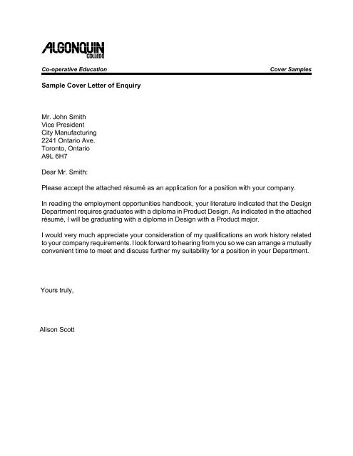 Sample Cover Letter Of Enquiry Mr John Smith Vice President City