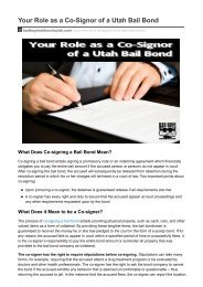 Your Role as a Co-Signor of a Utah Bail Bond