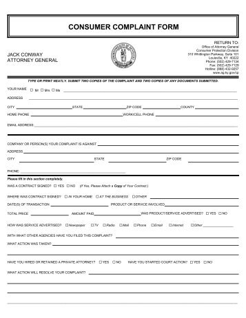 Consumer Form Consumer Complaint Form Office Of The Attorney