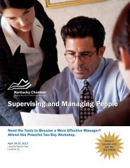 Supervising and Managing People - Kentucky Chamber of Commerce