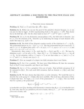 ABSTRACT ALGEBRA 2 SOLUTIONS TO THE PRACTICE EXAM ...