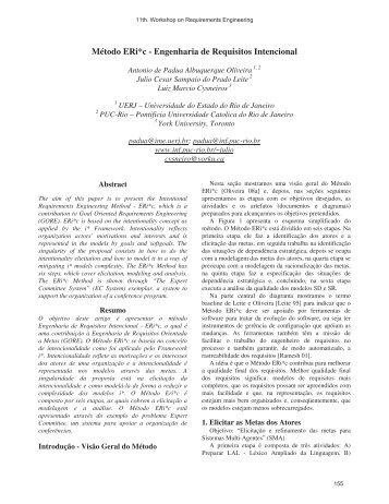Método ERi*c - Engenharia de Requisitos ... - WER - PUC-Rio