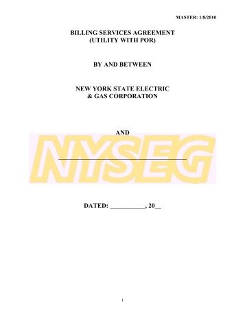 BILLING SERVICES AGREEMENT (UTILITY WITH POR) BY ... - nyseg