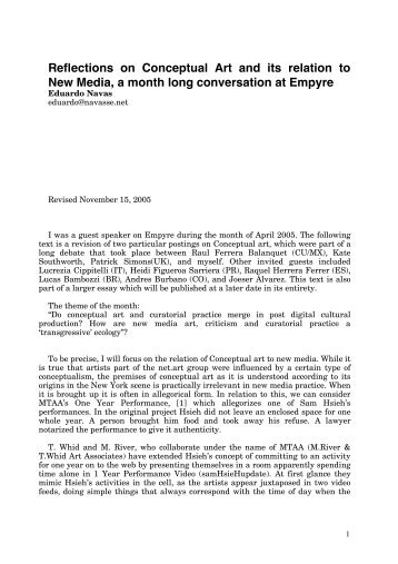 Reflections on Conceptual Art and its relation to New Media, a ...