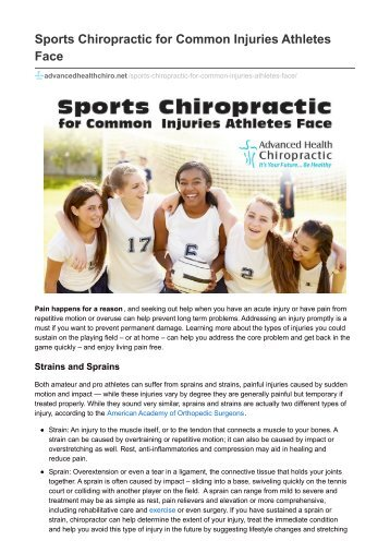 Sports Chiropractic for Common Injuries Athletes Face