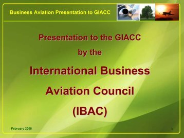 International Business Aviation Council (IBAC) - ICAO