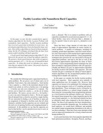 Facility Location with Hard Capacities - Oberlin College Computer ...
