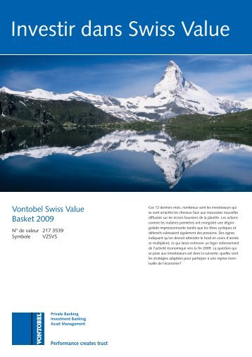 Investir dans Swiss Value - Bank Vontobel AG
