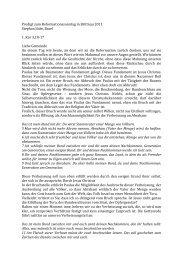 Gottesdienst zum Reformationssonntag - Reformierte Kirche Brittnau