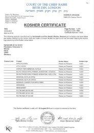 KOSHER CERTIFICATE - Herbstreith & Fox