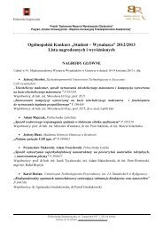 Lista nagrodzonych i wyróżnionych - Systemowe Wsparcie ...