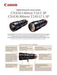 Cine Zoom Lenses for 35mm PL Mount Cameras (PDF file) - Canon