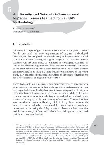 Simultaneity and Networks in Transnational Migration: Lessons ...