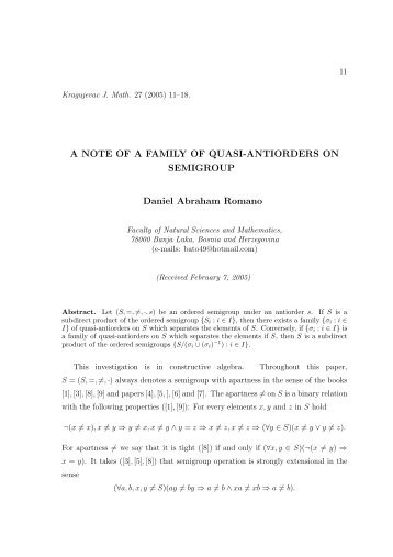 A NOTE OF A FAMILY OF QUASI-ANTIORDERS ON SEMIGROUP ...