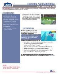 Swimming Pool Maintenance: - Lowe's