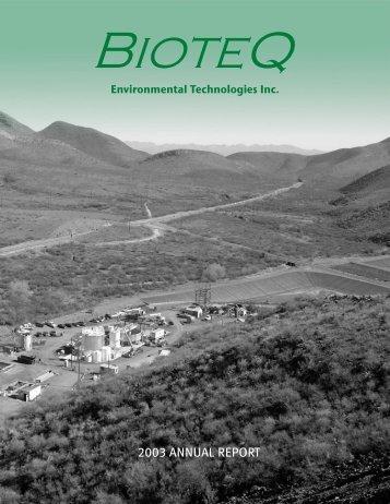 2003 ANNUAL REPORT - BioteQ Environmental Technologies Inc.
