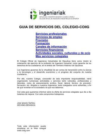Acceso a la Guia de servicios - Colegio de Ingenieros Industriales ...