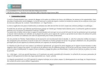 HELMO plan de suivi - Agence pour l'evaluation de la qualite de l ...
